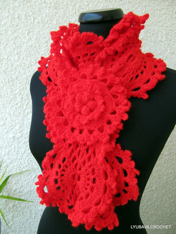 Crochet Red Lace Long Scarf Fashion Red Lasy by LyubavaCrochet ...