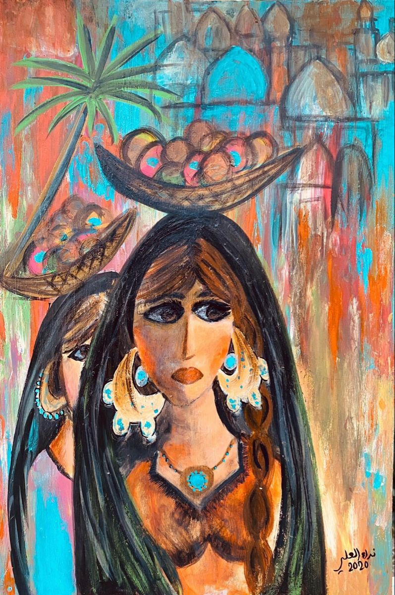 لوحة فلكلور شعبي اكرليك رسم على خشب قياس 80 50التشكيلية نداء العلي Art Painting Disney Characters