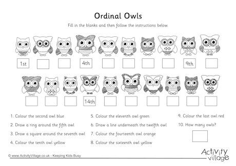 Here\'s an owl-themed activity page for writing ordinal numbers ...