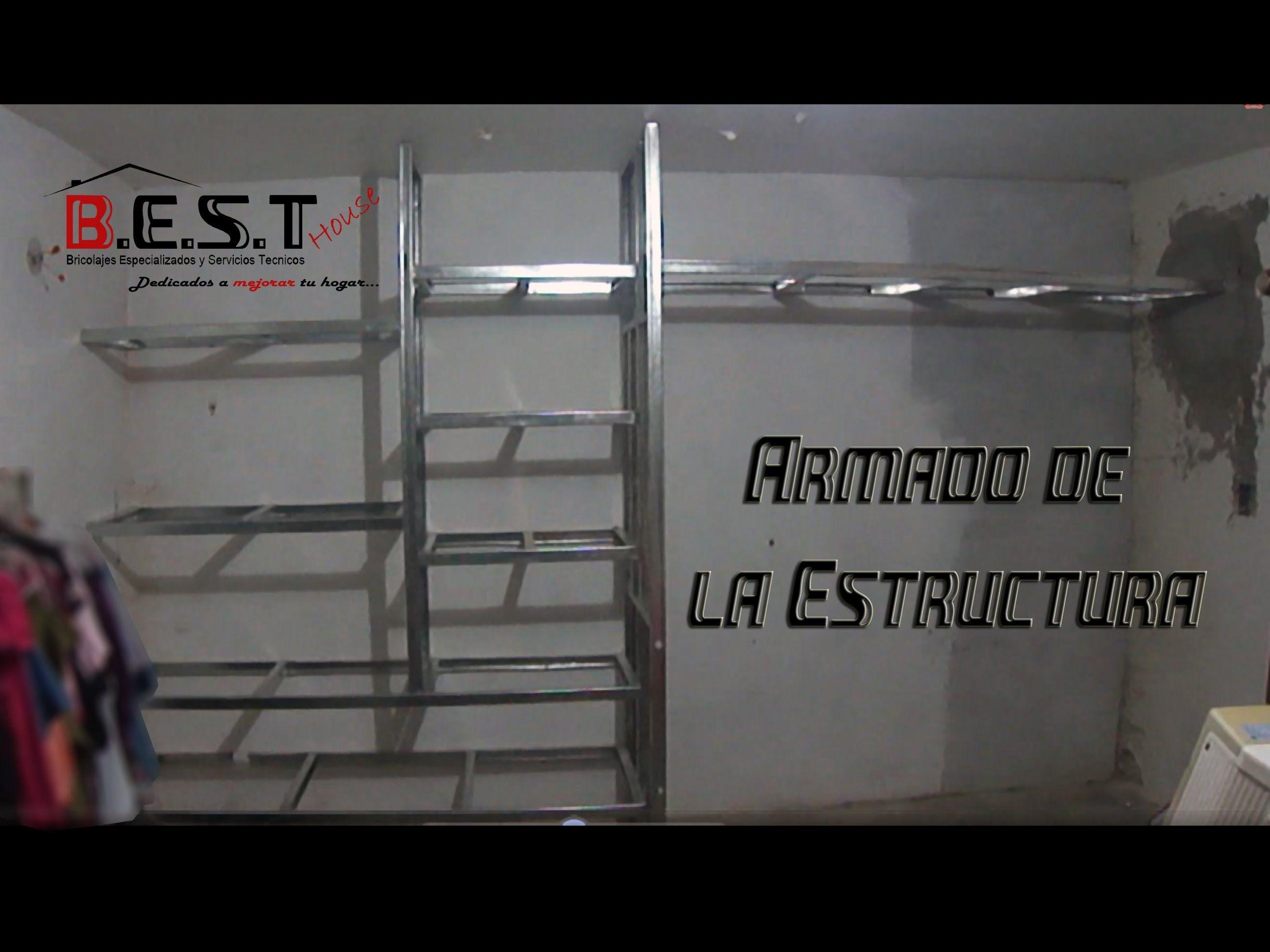 Como hacer closet ropero de tablaroca parte 2 estructura for Armado de muebles de cocina