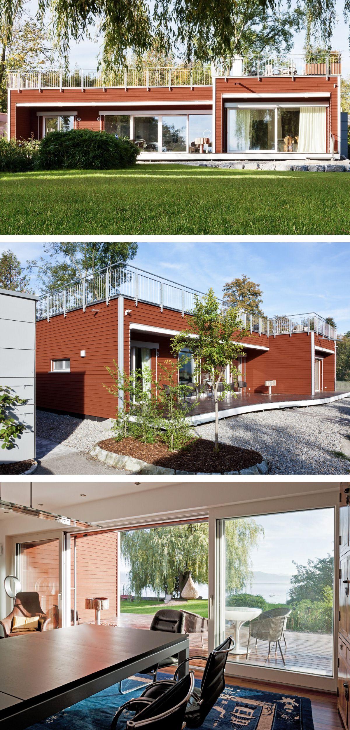 flachdach bungalow mit holzfassade haus am see von baufritz fertighaus als holzhaus mit. Black Bedroom Furniture Sets. Home Design Ideas