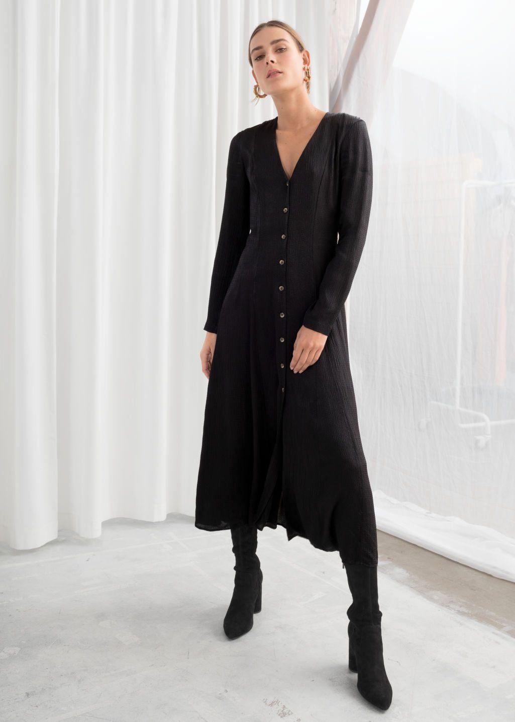 Satin Button Up Midi Dress Black Midi Dresses Other Stories Midi Dress Spring Fashion Outfits Black Turtleneck Dress [ 1435 x 1025 Pixel ]
