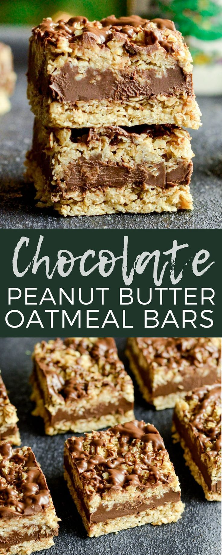 NoBake Chocolate Peanut Butter Oat Bars This delicious cookie recipe comes together in 10 minutes  is glutenfree  veganfriendly via joyfoodsunshine