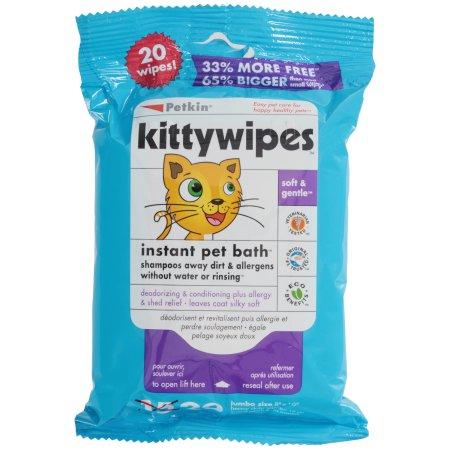 Petkin Kitty Wipes Jumbo Size Wipes 20 Ct Pack Walmart Com Flea Shampoo For Cats Cat Shampoo Wipes