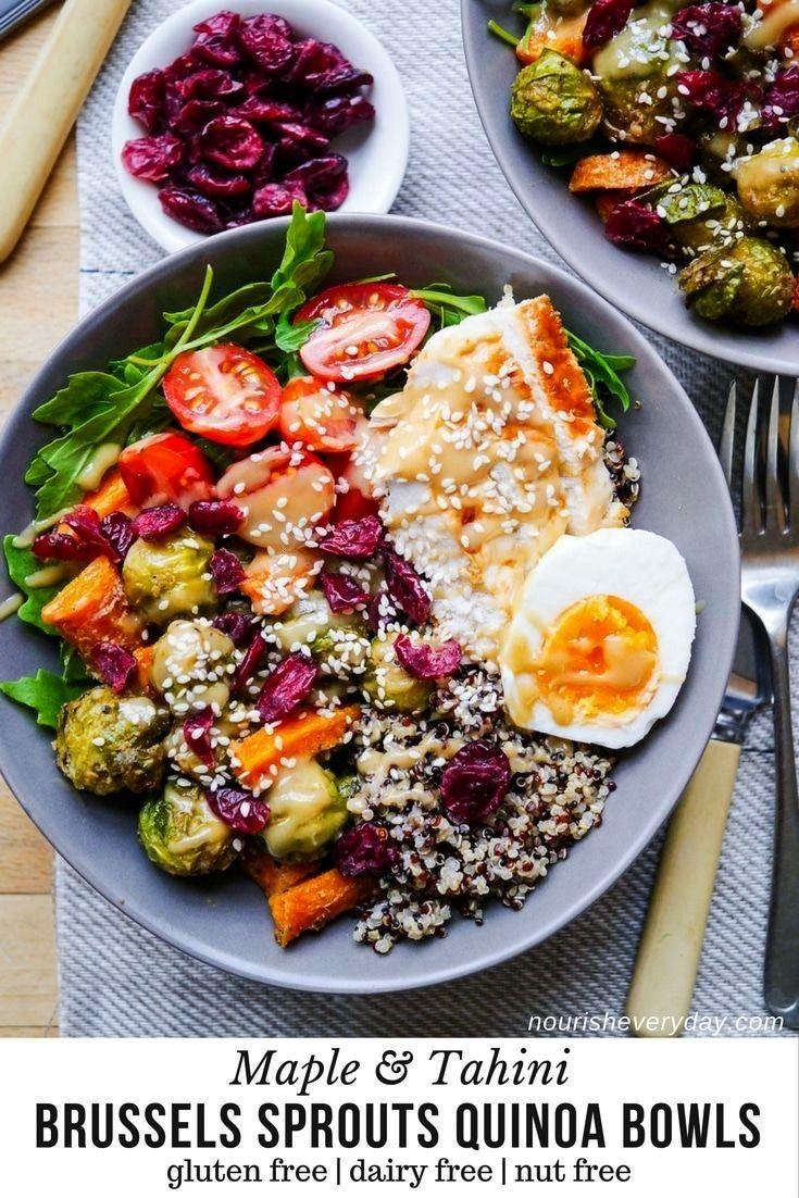 Tahini Brussels Sprouts Quinoa Bowl | Nourish Every Day -Maple Tahini Brussels Sprouts Quinoa Bowl