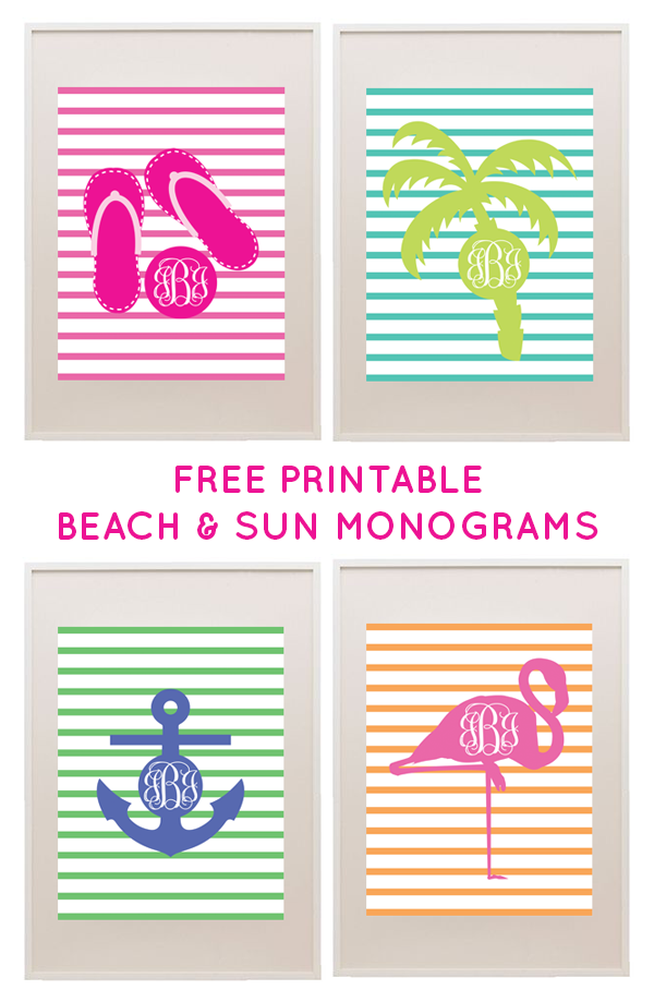 Monograms Free printable Monograms and Beach
