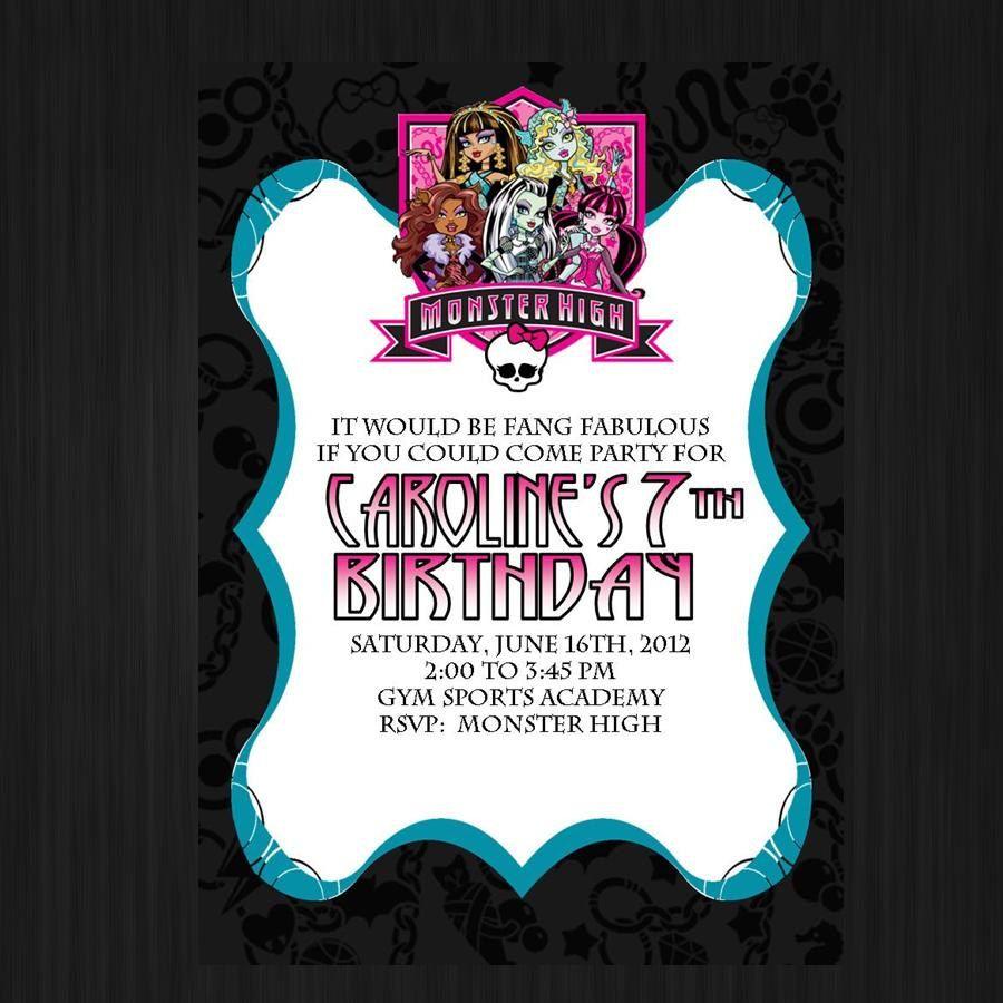Monster High Invitation -Monster Birthday Invitation - Birthday ...