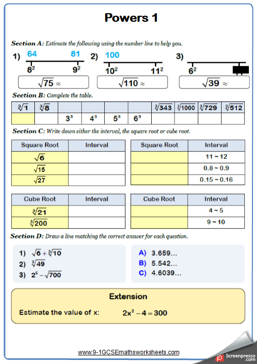 Estimating Powers And Roots Maths Worksheet And Answers 9 1 Gcse Higher Grade 5 Year 10 Math Worksheet Algebra Equations Gcse Math