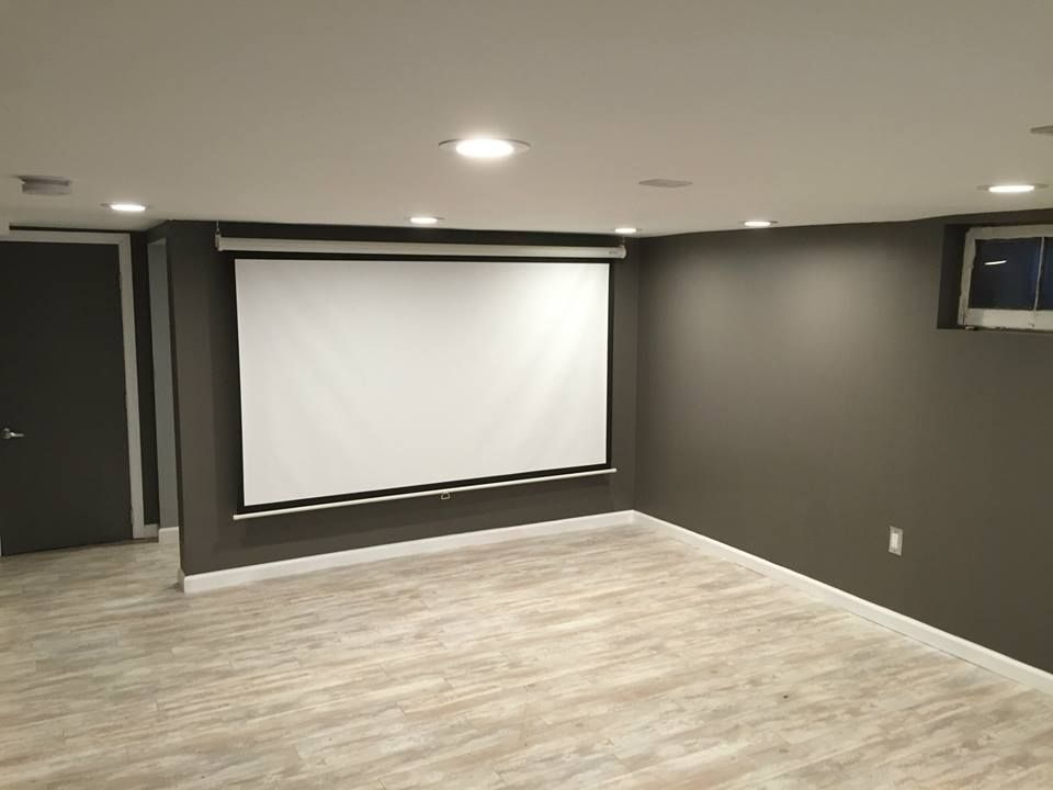 Remodel Design Custom Home Builder House Renovations Contractor Construction Interior Basement Floors Trim Paint Gray Projector