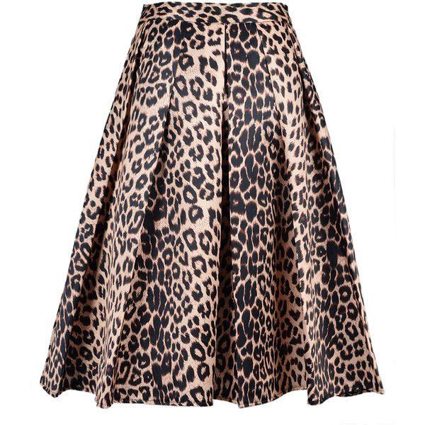 Leopard Print Silky Midi Skater Skirt ($25) ❤ liked on Polyvore featuring skirts, leopard print skirt, midi skater skirt, circle skirt, high-waist skirt and high waisted skater skirt