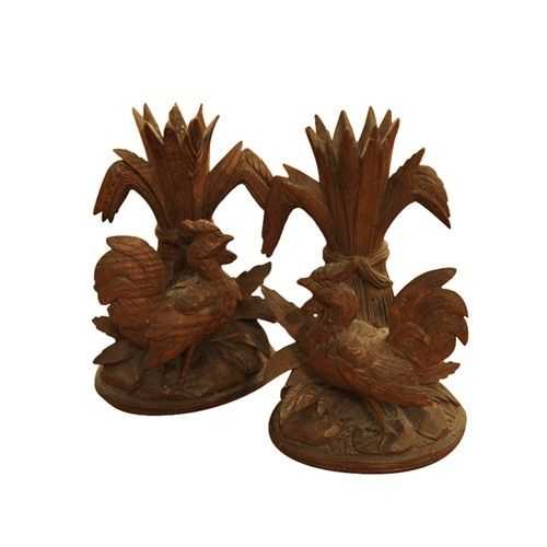 Pair of French Antique Carved Wood Rooster Candle Holders - $450.