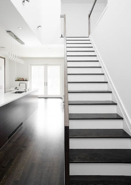 Dark Stained Stair Treads With White Risers House Design Home   Staining Stair Treads And Painted Risers   Open Stair Basement   4 Thick   Walnut   Design   Commercial Business