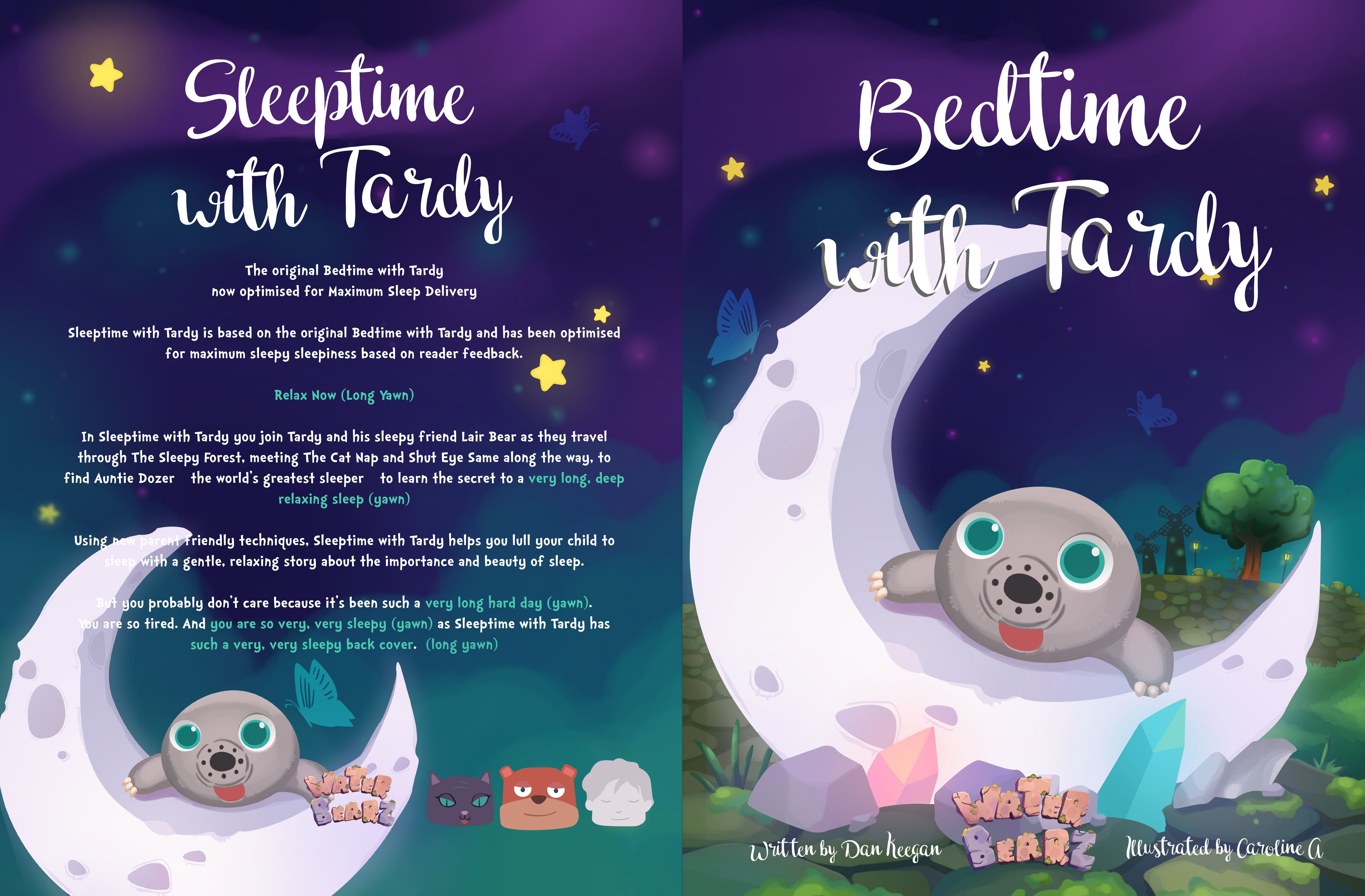 Cover and back cover for bedtime with tardy children book