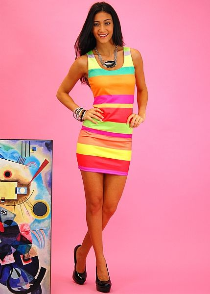 Show color with this rainbow bandage dress. This item features beautiful colored stripes for added body symmetry, sleeveless design and open neck. Wear this dress with your favorite pair of high heels for sexy and classy look.