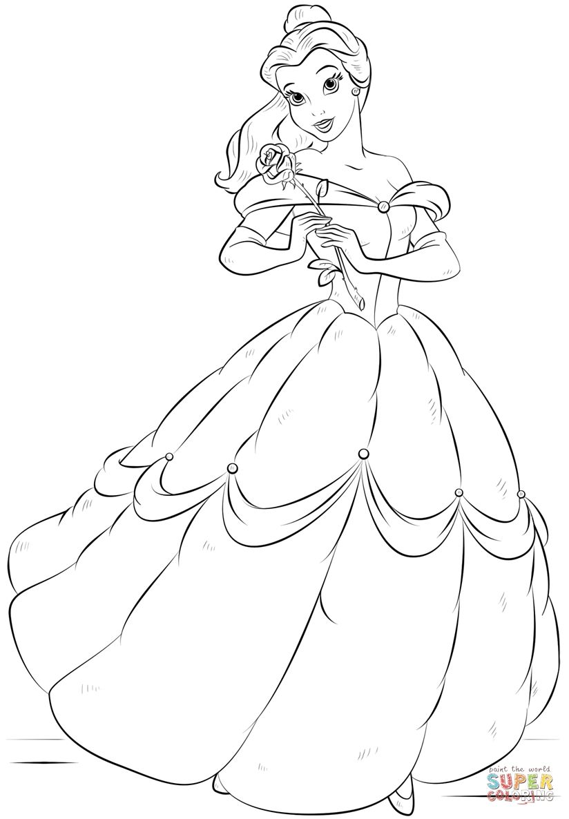 Belle Super Coloring Belle Super Coloring Belle Coloring Pages Disney Coloring Pages Princess Coloring Pages