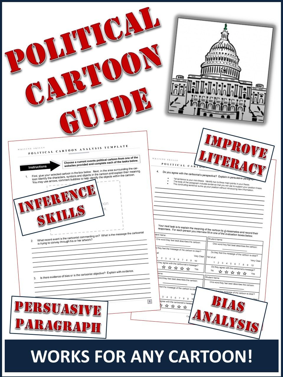 Political Cartoon Analysis Template Teaching English Pinterest