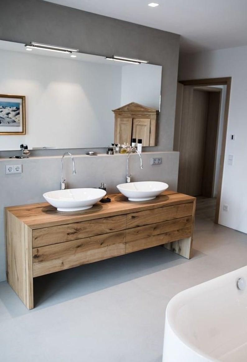 Rustic Oak Or Hickory Bath Vanity Cabinet Choice Of Rubio Or Etsy Modern Bathroom Bathroom Flooring Best Bathroom Designs