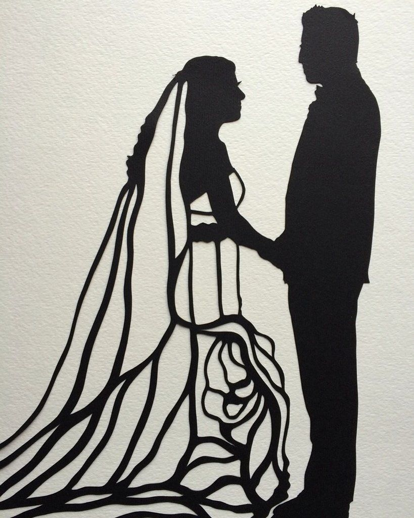 "11 by 14"" Custom Hand-Cut Wedding Silhouette Art - First Anniversary Gift"