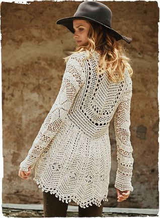 A wearable work of art, our insouciant pima cardigan draws inspiration from Victorian lacework. Exquisitely handcrocheted by Peruvian artisans in a panoply of complex stitches—irresistible, from the sweetheart neckline to the flyaway, back-dipping hem trimmed with picot-edged scallops.