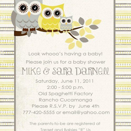 Owl baby shower invitations with gray and yellow owls digital babies owl baby shower invitations filmwisefo Choice Image