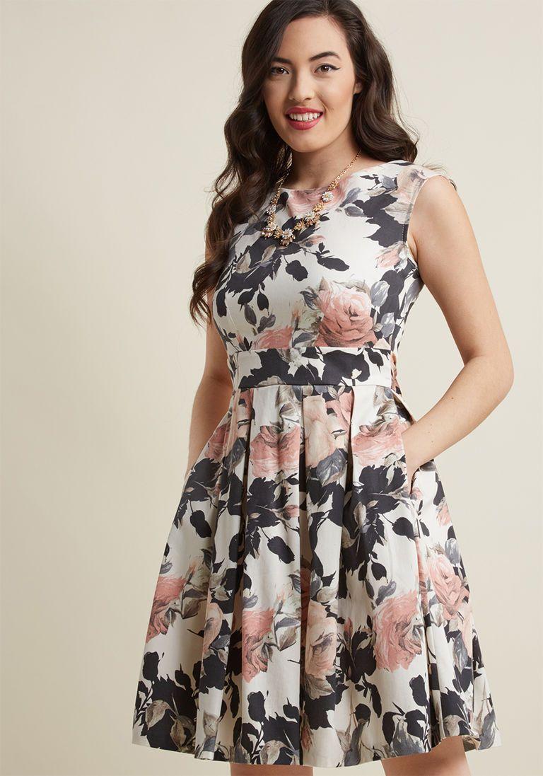 Closet London Fluttering Romance ALine Dress in Muted