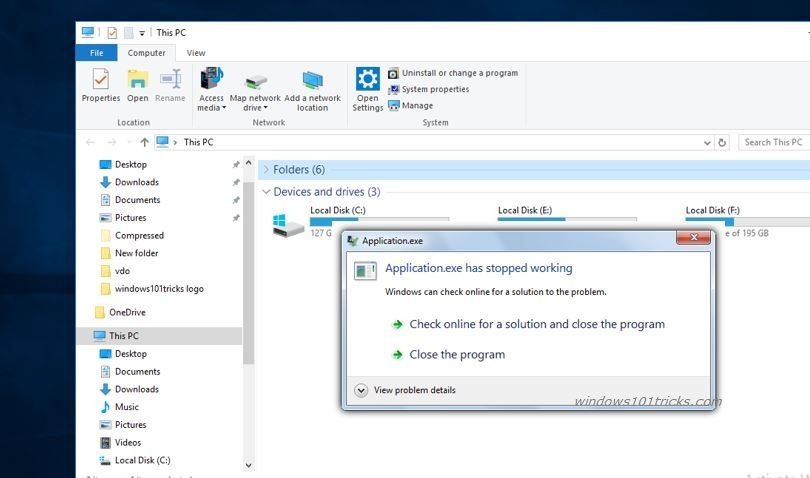 Fix Application Exe Has Stopped Working Error On Windows 10 Windows 10 Old Software Windows Registry