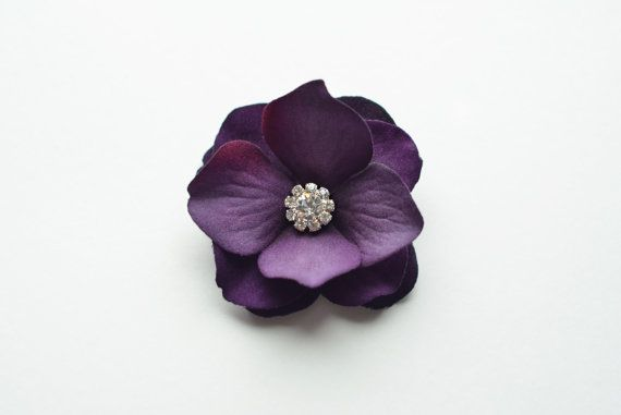 Wedding  Hair Accessories  - Bridesmaid Hair Clip, Eggplant Purple, Royal Purple, Velvet Hair Flower, Crystal. $16.00, via Etsy.