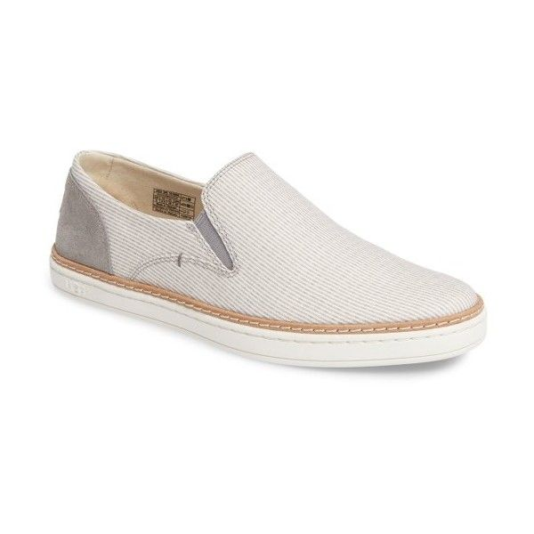 A striped canvas upper adds summery appeal to a suave skate sneaker lined at the heel with a tuft of UGGpure wool for extra comfort.  A PORON- and memory foam-…