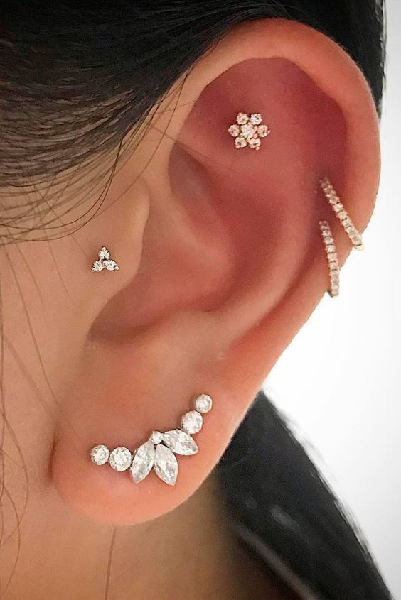 14 Cute and Beautiful Ear Piercing Ideas For Women - Biseyre #earpiercingideas