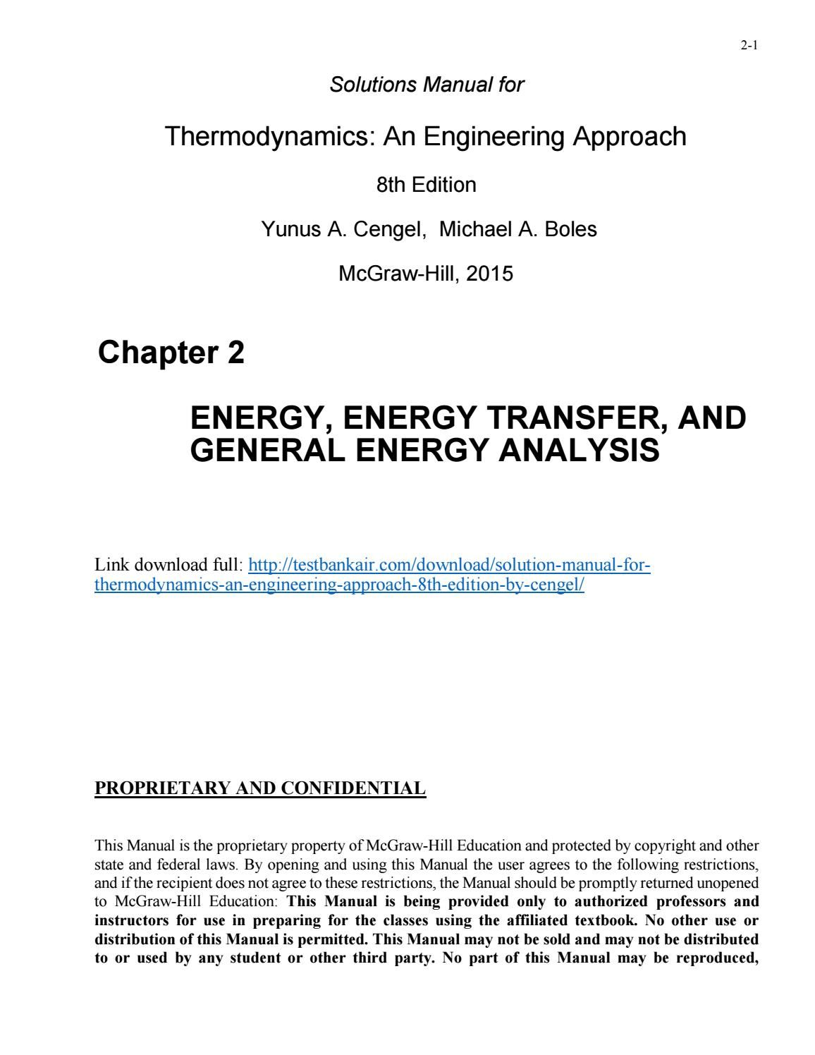 Download solution manual for thermodynamics an engineering approach 8th  edition by cengel