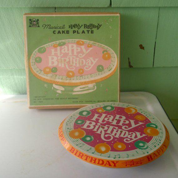 50s 60s Musical Happy Birthday Cake Plate by OldGreenCanoe on Etsy