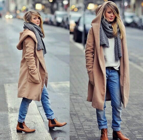 Hooded Coat Boyfriend Jeans And Chelsea Boots Fashion Fashion Clothes Women Womens Fashion Winter