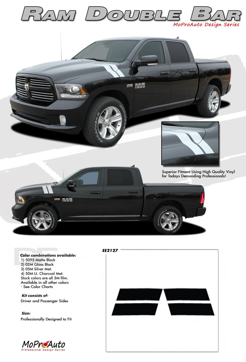 RAM DOUBLE BAR Dodge Ram Hood - Truck bed decals custombody graphicsdodge ram