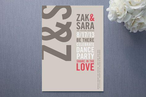 Invitation Crush Modern Typography Wedding Invitations