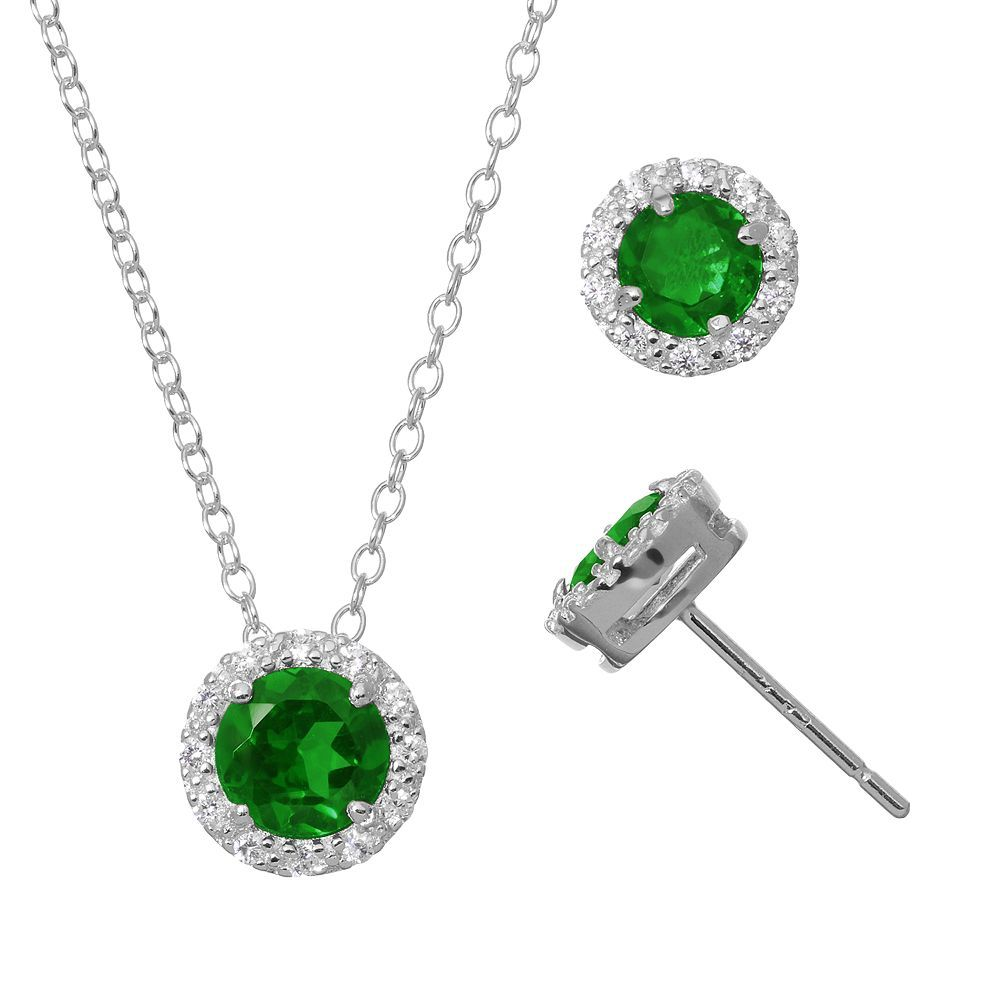 Lab-Created Emerald & Cubic Zirconia Sterling Silver Halo Pendant Necklace & Stud Earring Set, Green