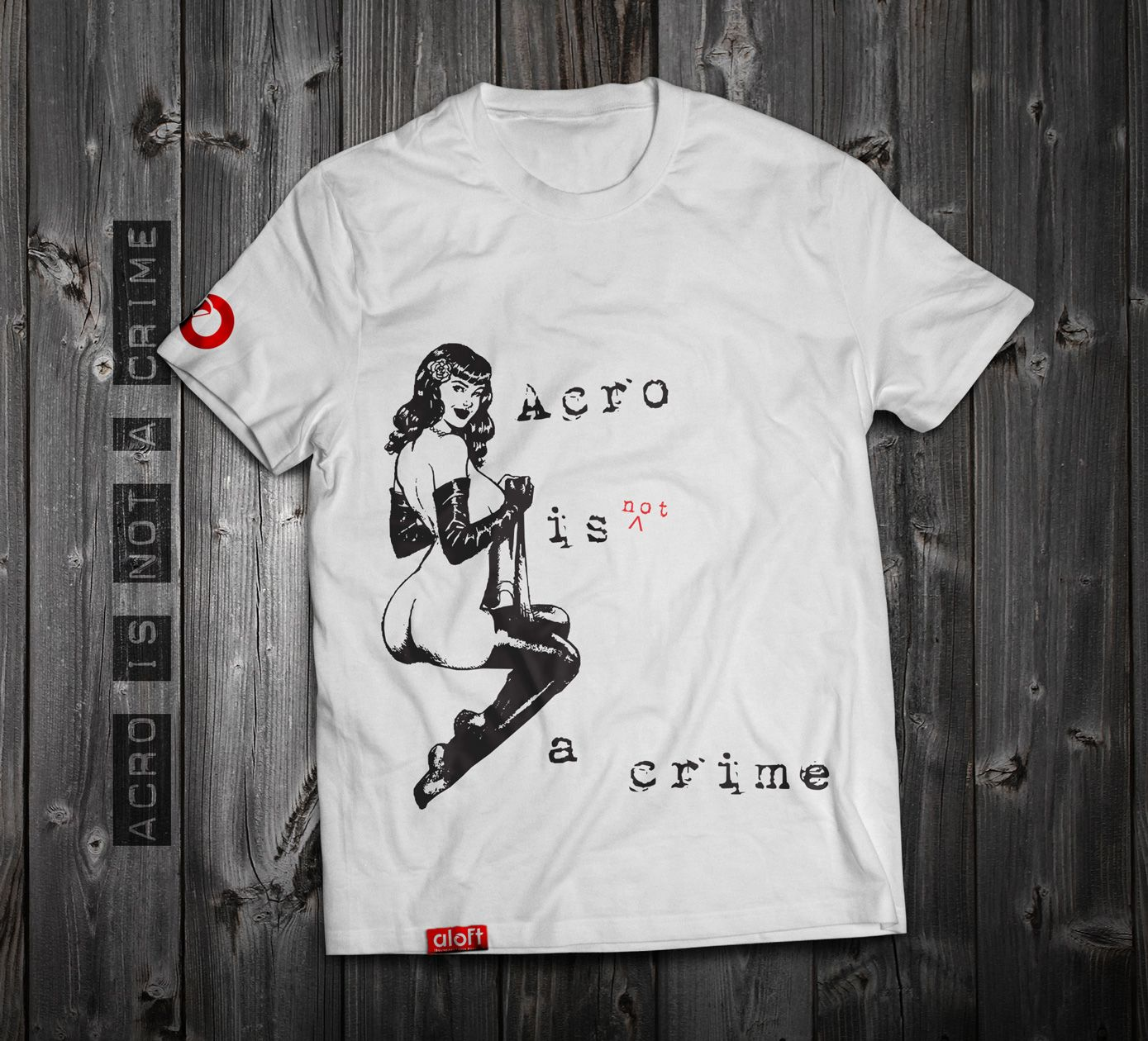 "https://www.aloft.clothing "" acro is not a crime"" men's t-shirt, white cotton, silk screen. paragliding brand, casual line Like our page: https://www.facebook.com/AloftBoundaryLayerApparel"