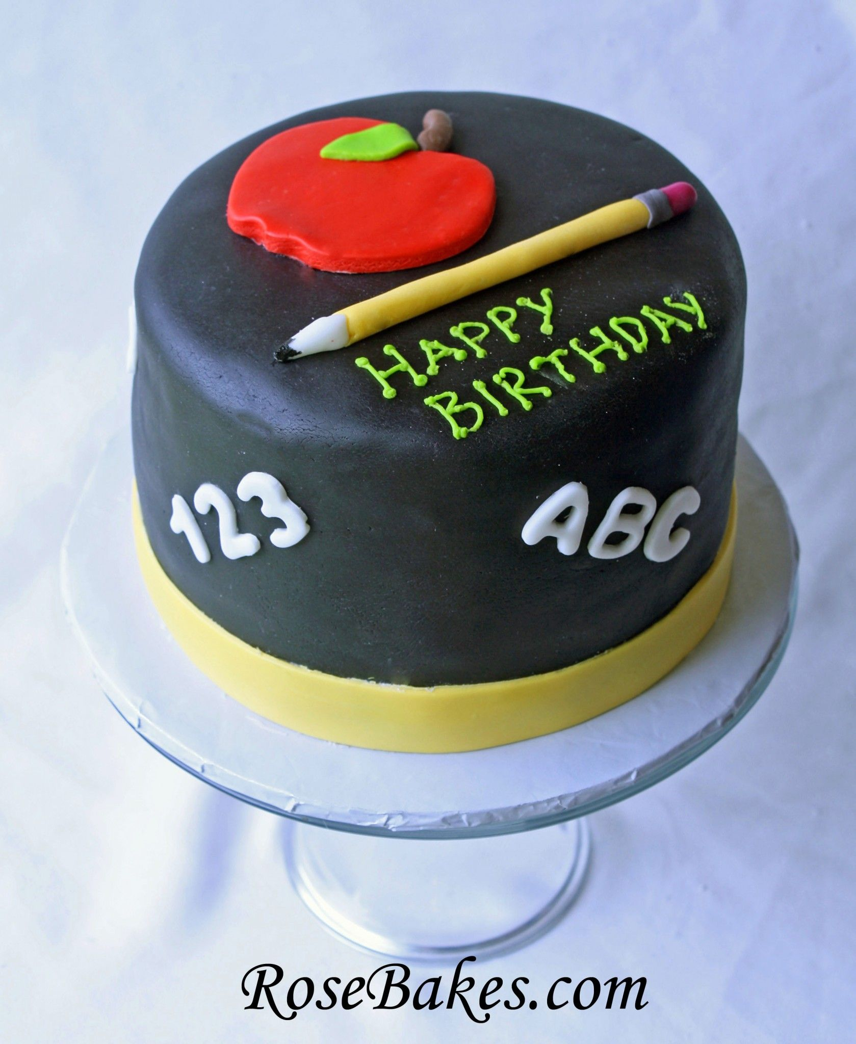 Teacher Birthday Cake With Fondant Ribbon