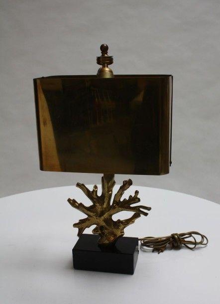 Maison Charles Lampe Corail Bronze Dore Patine H 61 Cm Art Du