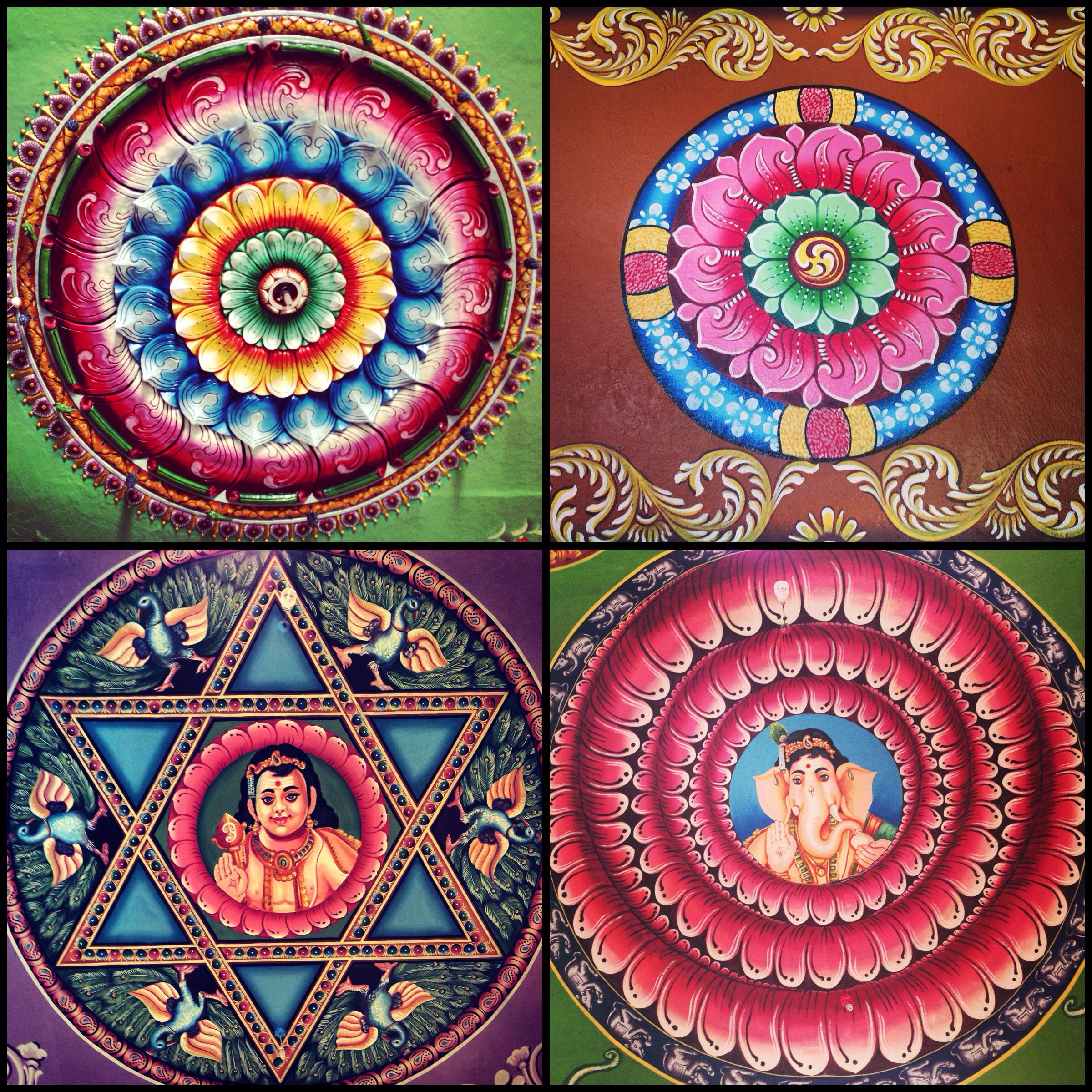 Drawings on the ceiling of a hindu temple in the matale for Art decoration sri lanka