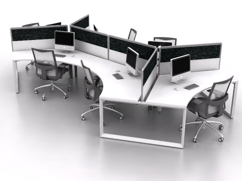 A 3 Person Cluster Workstation With A 120 Degree Groove You Can