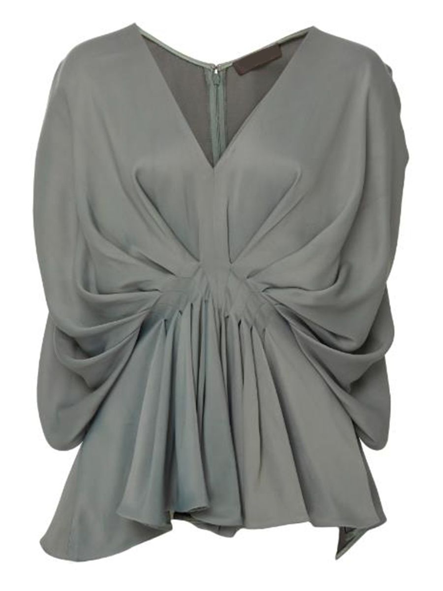 Ericdress Loose V-Neck Pleated Batwing Sleeve