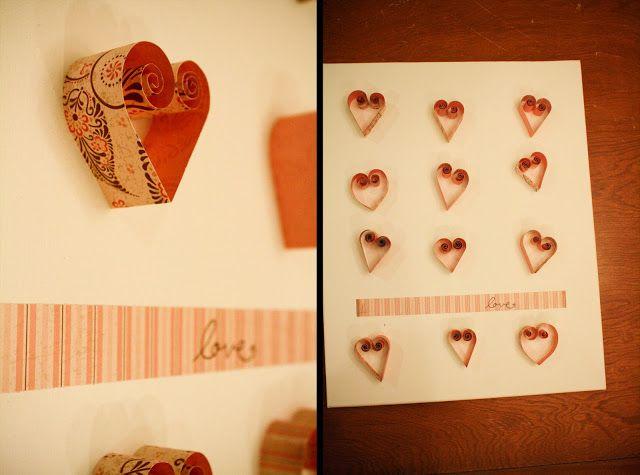 Quilling Karte zum Valentinstag