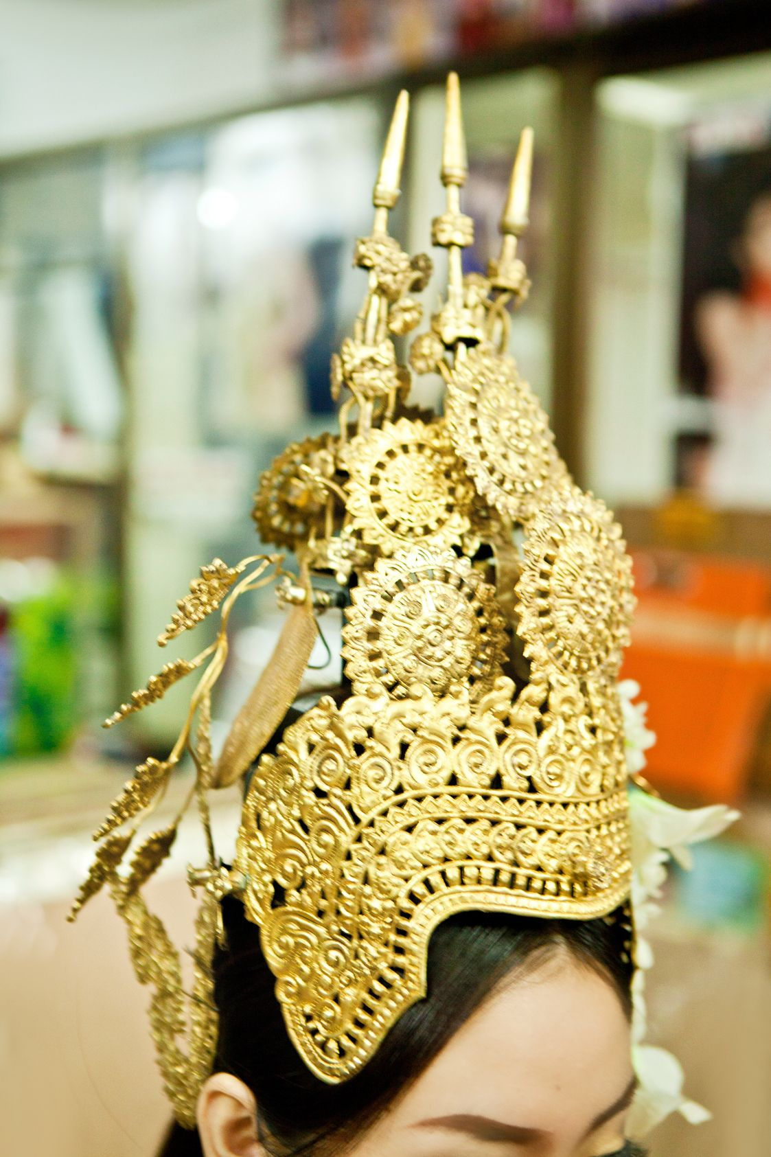 Beautiful golden crown for a lovely Apsara | Becoming an ...