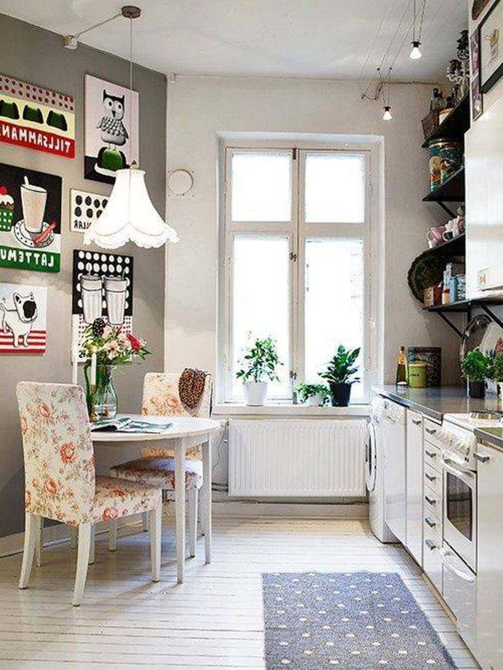 Vintage Kitchen Design Ideas Part - 26: Master Kitchen Cheerful Design Ideas Using Rectangular Grey Rugs And  Rectangular White Wooden Cabinets Also With Rounded White Wooden Tables And  White ...
