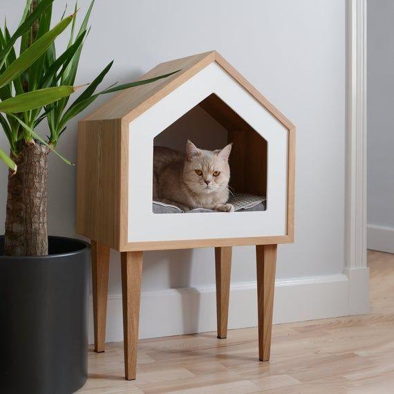 Premium Cat House Cat House Oak Wood Cat House Cat Tree Etsy Cat Tree House Wood Cat Cat Tree Plans