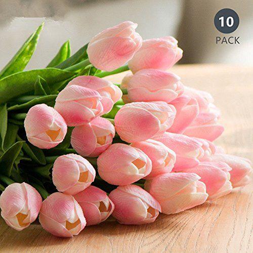 Tulipán Flores Artificiales 10 Piezas Ideal para decoración de casa