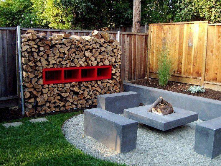 Décoration jardin extérieur avec rangement bois métallique, foyer ...