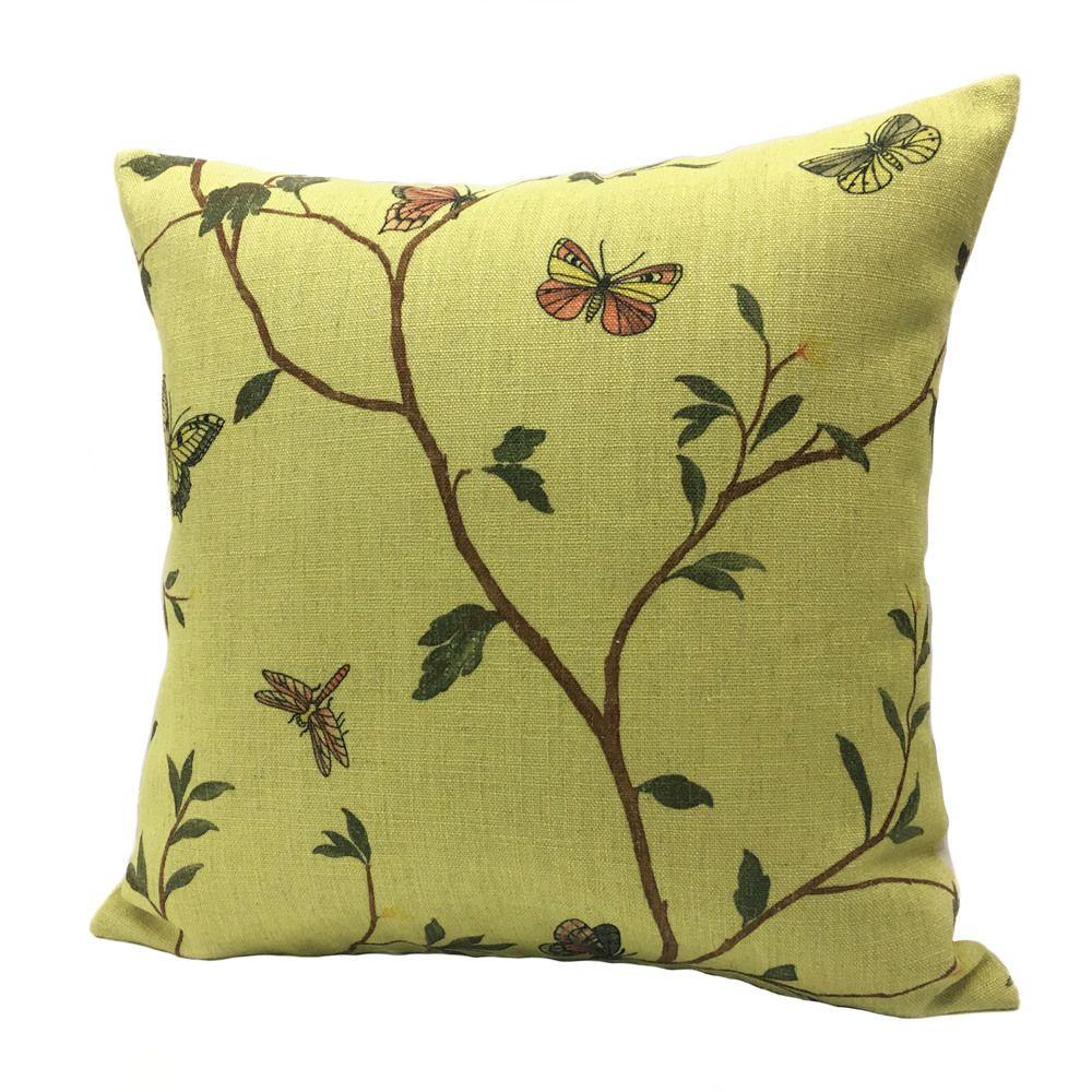 2017 Light Yellow Plant Digital Printed Pillow Case Butterfly Linen ...