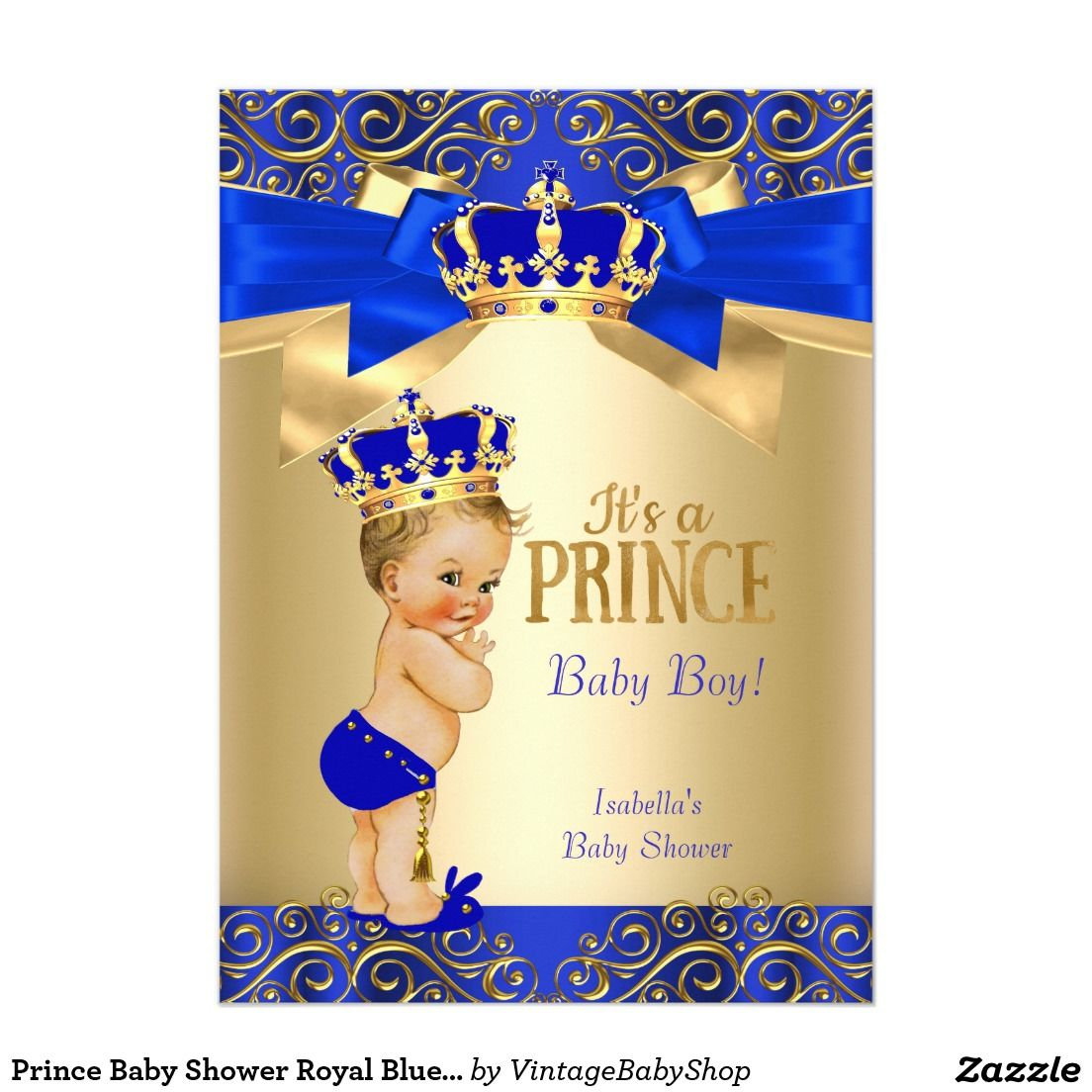 Prince Baby Shower Royal Blue Gold Damask Blonde 5x7 Paper
