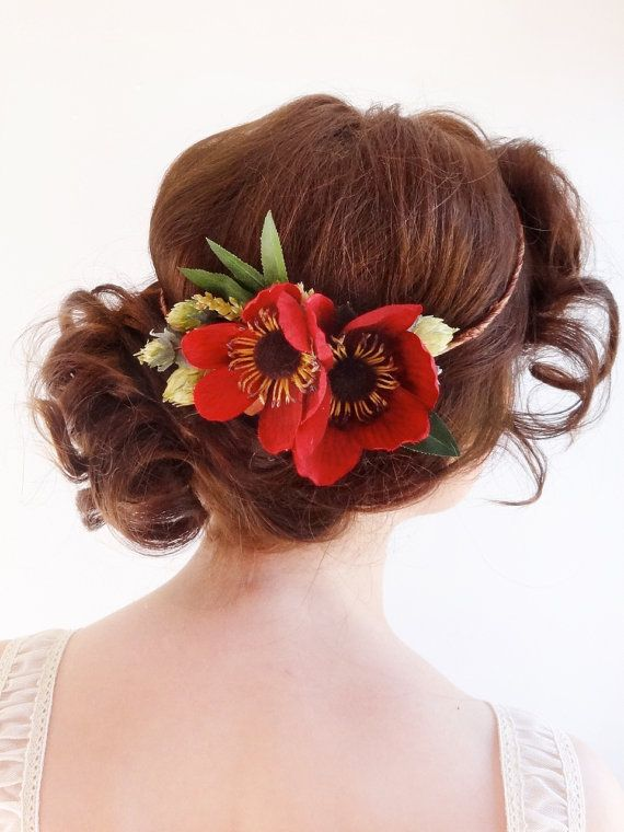 Red floral crown, poppy hair accessories, red flower hairpiece, head ...